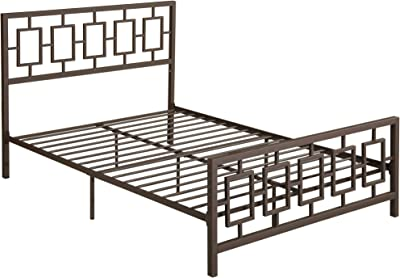 Christopher Knight Home Dawn Queen-Size Geometric Platform Bed Frame, Iron, Modern, Low-Profile, Hammered Copper