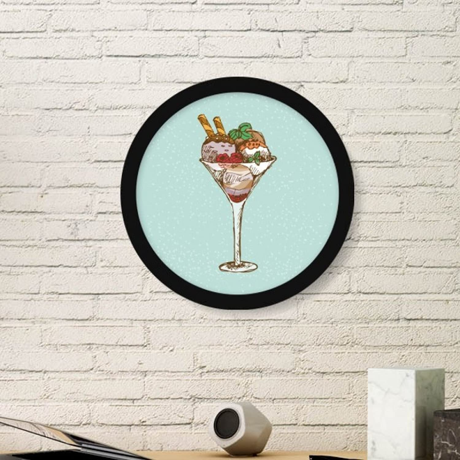 Leaves Flower Goblet Ice Cream Ball Art Painting Picture Photo Wooden Round Frame Home Wall Decor Gift