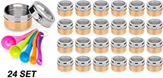 Stainless Steel Magnetic Spice Jars - Bonus Measuring Spoon Set - Airtight Kitchen Storage Containers - Stack on Fridge to Save Counter & Cupboard Space (Set of 24 PCS - Gold)