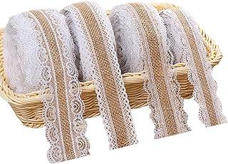 Juteband mit Spitze Weiß, Vintage Spitzenband Sackleinen Band Rolle mit Spitze-Borten für Hochzeit Weihnachten Basteln Geschenke Deko, Jute Spitze Dekoband auf einer Rolle 4 Stück, 2 Meter