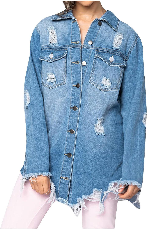 TLOOWY Ripped Denim Jacket for Jean Boyf Selling rankings Distressed Popular Women