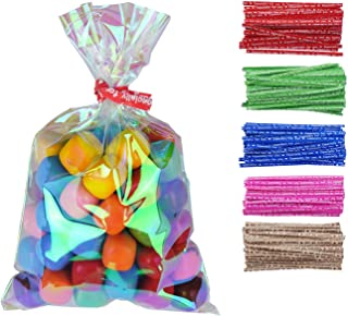 100 Pcs 3 in x 5 in Iridescent Holographic Cellophane Party Favor Treat Bags with Twist Ties for Themed Celebrations Baby Showers Weddings Girls Birthday or Any Parties and Events