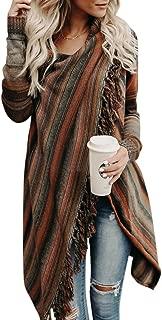 Wowfashions Women's Striped Tassel Fringe Long Sleeve Pullover Sweater Open Front Knit Cardigan