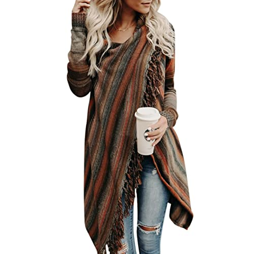 Wowfashions Women s Striped Tassel Fringe Long Sleeve Pullover Sweater Open  Front Knit Cardigan bc1abd84d