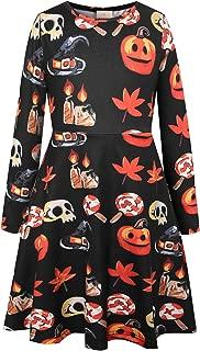 Big Girls' Printed Long Sleeve Casual A-line Dress