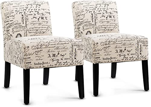 2021 Giantex Fabric Accent Chair Set of 2, Contemporary Leisure Side Chair w/Thick Sponge Cushion, Wood Legs, Weight Capacity 330 Lbs, online Armless Accent Chair for Living Room, Bedroom popular (2, Letter Print) sale