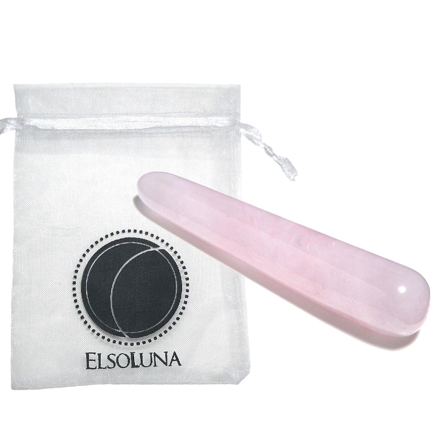 鉛筆かわいらしい代理人Elsoluna(エルソルーナ) かっさプレート かっさマッサージ 美顔 天然石 パワーストーン (アウトレット ローズクォーツ スティック型, ピンク)