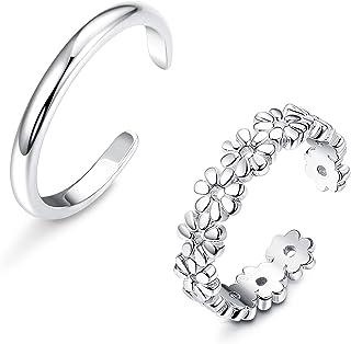 Udalyn Juego de 2 anillos de plata de ley para dedo del pie para mujer, diseño de flores, hipoalergénicos, ajustables, hip...