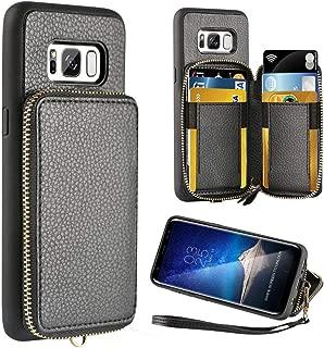 ZVE Wallet Case for Samsung Galaxy S8, 5.8 inch, Leather Wallet Case Credit Card Holder Slot Zipper Wallet Pocket Purse Handbag Wrist Strap Protective Cover Samsung Galaxy S8, 5.8 inch 2017 - Black