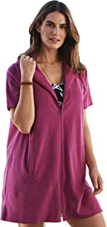 Women's Plus Size Hooded Terry Swim Cover Up