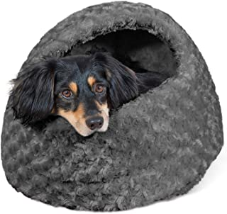 Furhaven Pet Cat Bed | Hooded Tent House Cave Ultra Plush Faux Fur Dome Lounger Hood Pet Bed for Cats & Small Dogs, Gray, One-Size