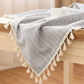 LUCKYHOUSEHOME Black and White Stripe Tassel Tablecloth Cotton Linen Rural Small Home Kitchen Dinning Tabletop Table Cover 39 x 55 Inch