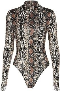 Women Long Sleeve/Sleeveless Bodysuit S-4XL Snaps On The Crotch Snake Print Top