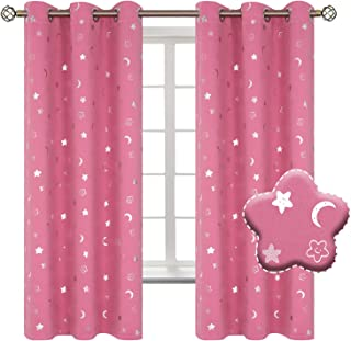 BGment Moon and Stars Blackout Curtains for Kids Bedroom 42W x 63L Pink 035PINK4263