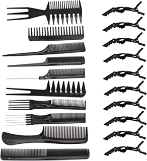 SenseYo 10 Pcs Professional Hair Styling Comb with Styling Clips Hair Salon Styling Barbers Set Kit