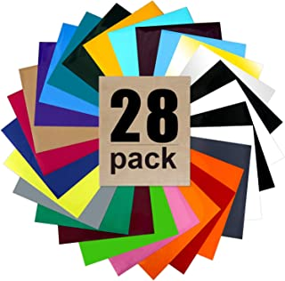 "ARHIKY HTV Heat Transfer Vinyl Bundle: 27 Sheets 12"" x 10"" Iron on Vinyl for T-Shirt, 1Teflon Sheet,25 Assorted Colors Vinyl"