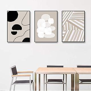 Art mural minimaliste moderne ligne abstraite Art Beige noir toile peinture affiche imprimer mur photos salon 50x70cmx3 sa...