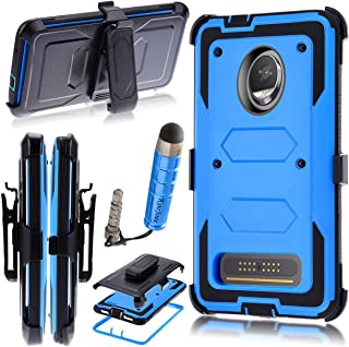 Moto Z2 Play/Moto Z2 Force Edition 2017 Case,Heavy Duty Shockproof[Kickstand][Belt Swivel Clip] Dual-Layer Full-Body Armor Rugged Protection Case with Built-in Screen Protector(Free Stylus) (Blue)