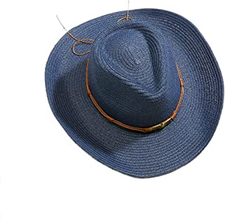 LPKH Straw Hat Men's Outdoor Fishing Cap   Sun Protection UV Protection Beach Holiday Cap Sun Hat hat (Color : Blue)