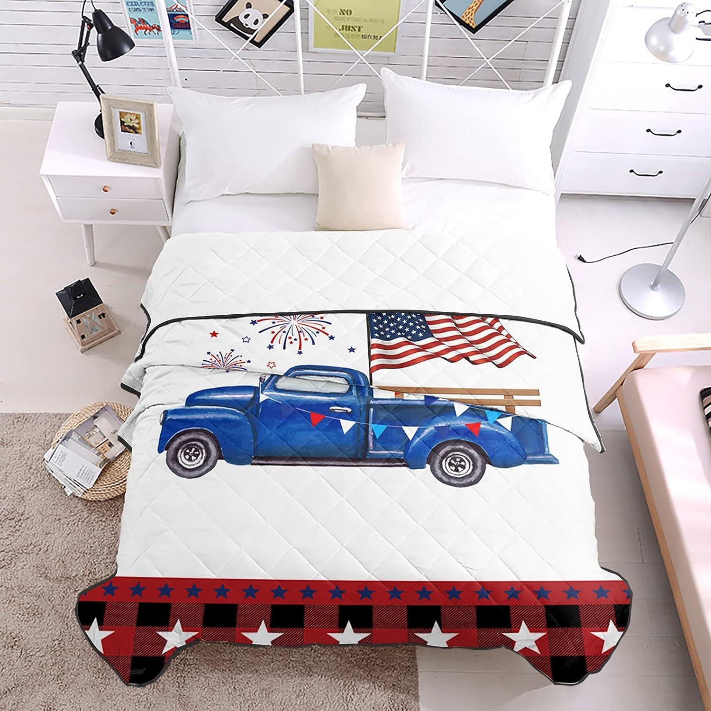 Bedding Duvets Blue Truck Carrying Flag Fluttering Genuine American Hap Store
