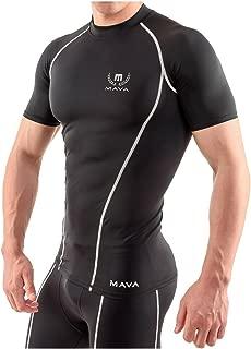 Mava Sports Men's Short Sleeve Compression T Shirt - Workout Baselayer Shapewear