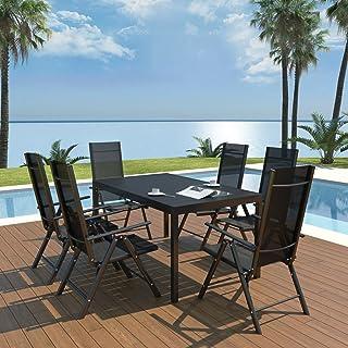 Tidyard Conjunto de Mesa y 6 Sillas Juego de Jardín con Sillas Plegables Conjunto de Comedor de Jardín 7 Piezas para Jardín Terraza Patio en Aluminio Negro