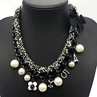 Fashion Jewelry Imitation Pearl and Black Bowknot Celebrity Bridal Necklace