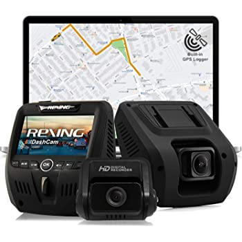 Rexing V1LG Dual Channel Car Dash Cam FHD 1080p 170° Wide Angle Dashboard Camera Recorder with HD Rear Camera, Built-in GPS Logger, G-Sensor, WDR, Loop Recording