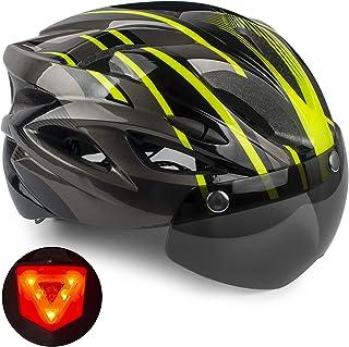 Casco de Bicicleta,KINGLEAD Casco CE con Visera Solar Extraíble, Casco de Bicicleta para Adultos USB Casco de Ciclismo de ...