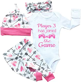 gllive Baby Girls' Clothes Long Sleeve Miracles Romper Outfit Pants Set +Hat+Headband 18-24 Months X-Pink Play
