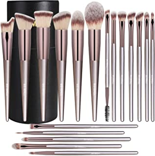 BS-MALL Makeup Brush Set 18 Pcs Premium Synthetic Foundation Powder Concealers Eye shadows Blush Makeup Brushes Champagne Gold Cosmetic Brushes with Black Case