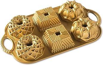 Nordic Ware Geo Bundtlette Pan, One Size, Gold