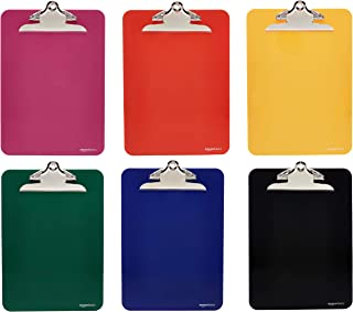Amazon Basics Plastic Clipboards with Metal Clip, Assorted Colors, Pack of 6