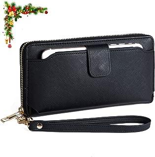 Women Wristlet Wallet with Cell Phone Holder RFID Blocking Zip Around Wallet PU