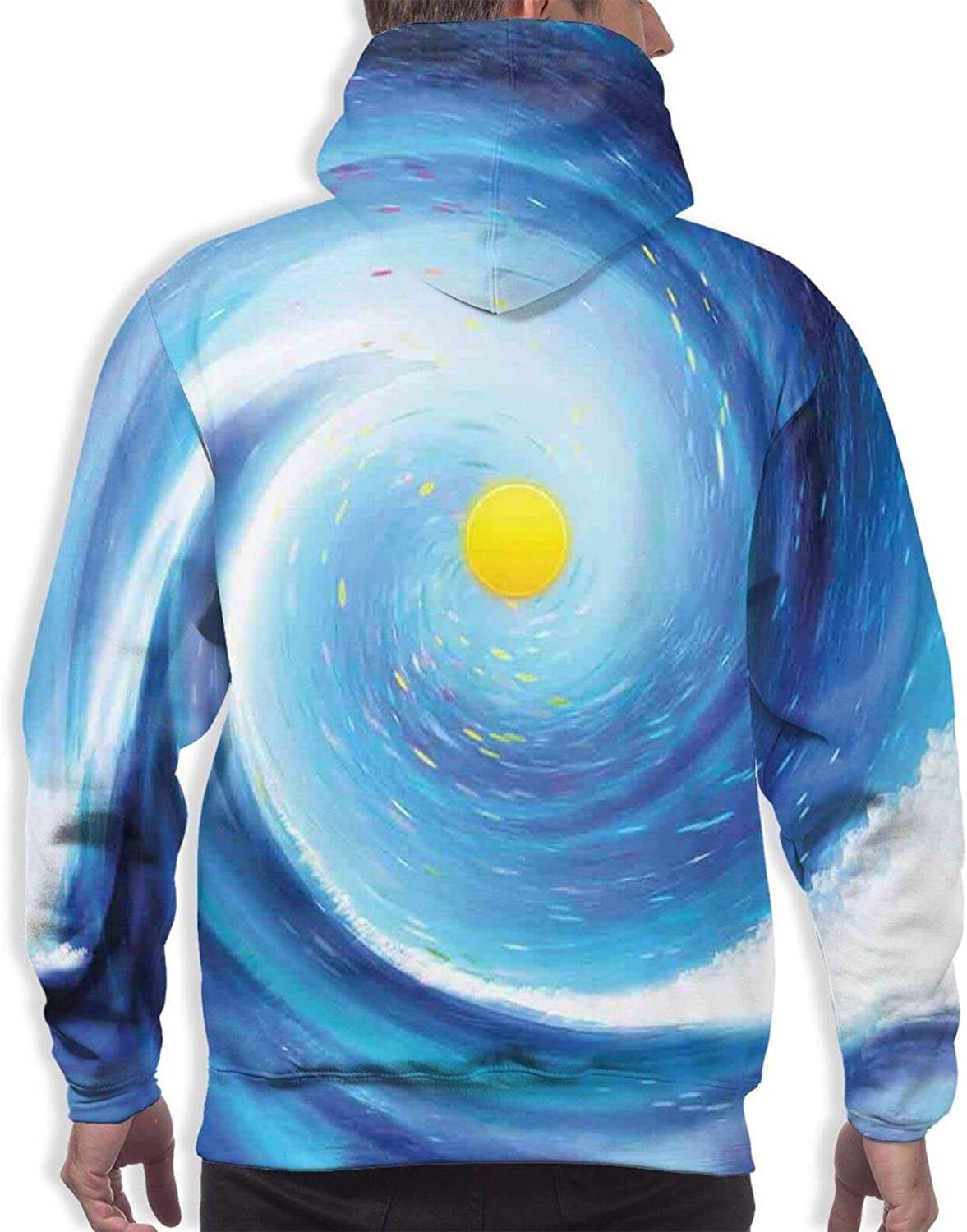 Men's Hoodies Sweatshirts,Artistic Spring Flowers On Blue Backdrop Ditsy Style Nature Inspired Simplistic Blooms