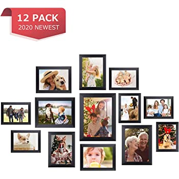 Homemaxs Picture Frames 12 Pcs Collage Photo Frames Gallery Wall Frame Set for Wall and Home, One 8x10 in, Four 5x7 in, Five 4x6 in, Two 6x8 in, Black