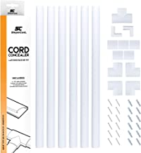 Cord Concealer System Covers Cables, Cords, or Wires - Cable Cover Management Raceway Kit for Hiding Wall Mount TV Power Cords in Home or Office - SimpleCord