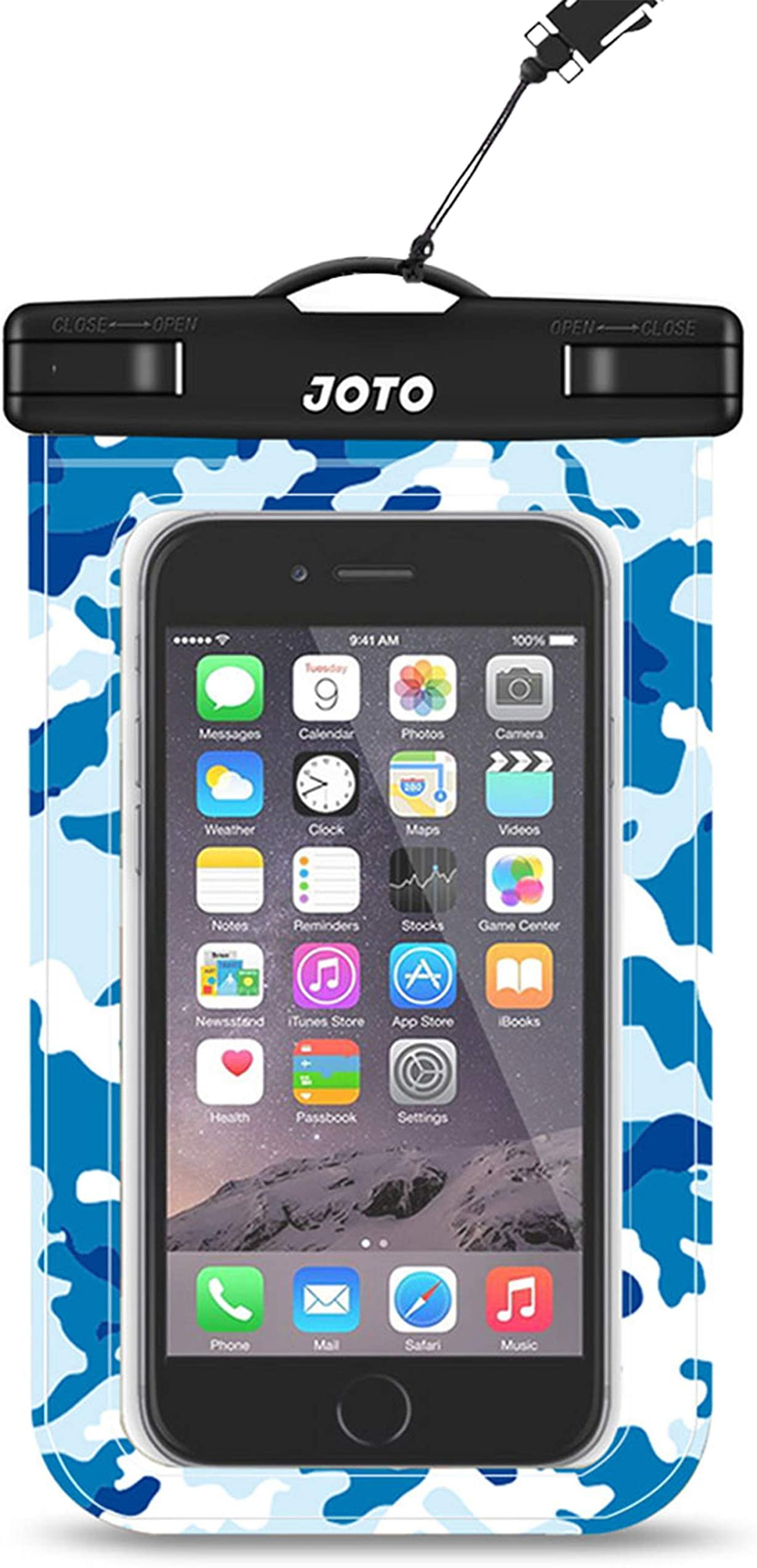 """JOTO Universal Waterproof Pouch Cellphone Dry Bag Case for iPhone 12 Pro Max 11 Pro Max Xs Max XR X 8 7 6S Plus SE, Galaxy S20 Ultra S20+ S10 Plus S10e /Note 10+ 9, Pixel 4 XL up to 6.9"""" -BlueCamo"""