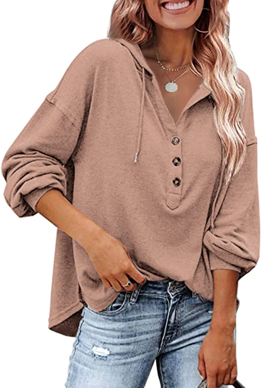 Theenkoln Women's Pullover Hoodies Casual Henley Shirt Sexy V Neck Long Sleeve Button Up Sweatshirts Tops with Drawstring
