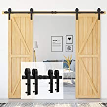 Homlux 8ft Heavy Duty Sturdy Sliding Barn Door Hardware Kit Double Door - Smoothly and Quietly - Simple and Easy to Instal...