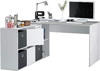 Habitdesign - Mesa Escritorio, Mesa despacho Reversible, Estudio Modelo Adapta XL, Medidas: (Gris Cemento y Blanco Artik)