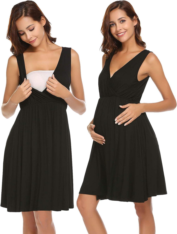Ekouaer Nursing Nightgown Sleeveless Maternity Dress Women Labor Delivery Hospital Gown Breastfeeding Nightdress S-XXL