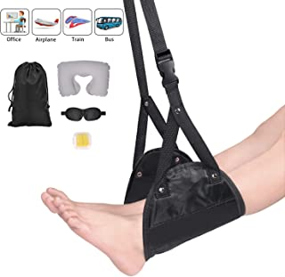 Airplane Footrest - Under Desk Footrest Adjustable Height Foot Hammock, Portable Travel Accessories Include Footrest+Earplug+Eye Mask+Travel Pillow