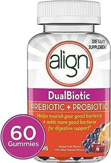 Align DualBiotic Prebiotic + Probiotic Supplement for Adult Men & Women, Digestive Health Gummies in Natural Fruit Flavors, 60 ct