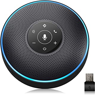 Bluetooth Speakerphone - eMeet M2 Black Conference Speaker for 5-8 People Business Conference Phone 360º Voice Pickup 4 AI...