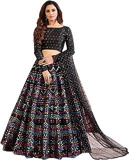 Indian Black Girlish Party Festival Pigment Foil Work taffeta Silk Skirt Top Set Lehenga Choli Dupatta 6312