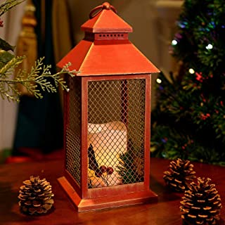 HAIINAA Christmas Red Lantern with LED Flameless Candle - Outdoor and Indoor Hanging/Sitting 12