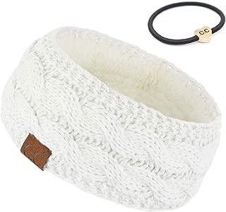 C.C Winter Fuzzy Fleece Lined Thick Knitted Headband Headwrap Earwarmer(HW-20)(HW-33) - Silver - One Size