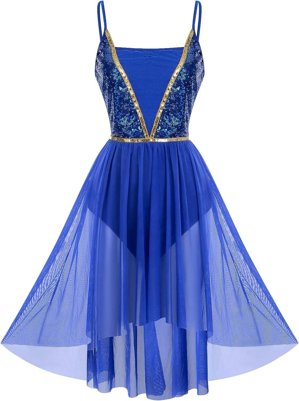 ODASDO Women Shiny Sequins Spaghetti Strap High Low Mesh Tulle Lyrical Dance Dress Modern Contemporary Dancewear