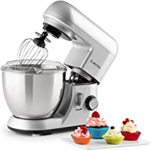 KLARSTEIN Pico • Tilt-Head Stand Mixer • Dough Hook, Flat Beater, Wire Whip • 550 Watts • 4.2 qt Stainless Steel Bowl • Planetary Mixing Action • 6 Speeds • Multifunctional • silver